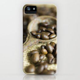 Old coffee beans spoon iPhone Case