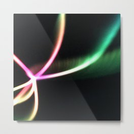 Neon Light Show In Pink And Green Metal Print