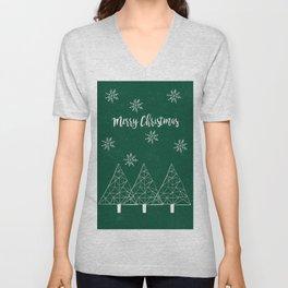 Merry Christmas Green Unisex V-Neck
