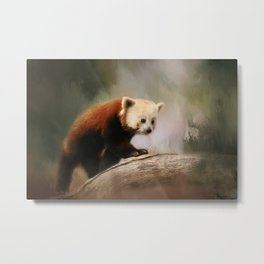The Panda Red Metal Print