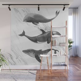 Ocean Whales Marble Black and White Wall Mural