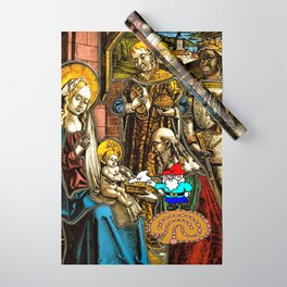 Will the Wandering Gnome Shares a White Hat with Jesus (Gnome Art) (Christmas Art) Wrapping Paper