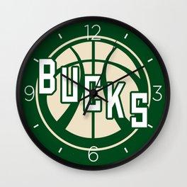 Bucks basketball vintage green logo Wall Clock