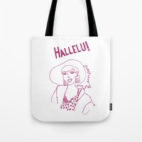 rupaul Tote Bags featuring Hallelu! by Stevie NYC
