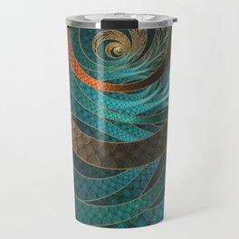 Beautiful Corded Leather Turquoise Fractal Bangles Travel Mug