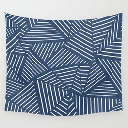 Abstraction Linear Zoom Navy Wall Tapestry
