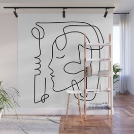 One Line Portrait 3 Wall Mural