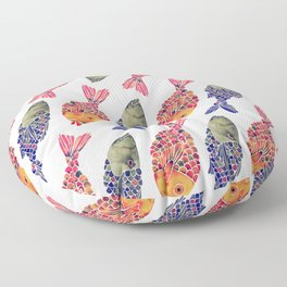 Indonesian Fish Duo – Navy & Coral Palette Floor Pillow