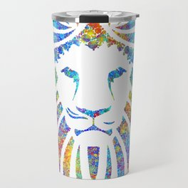 Colorful Watercolor Lion Travel Mug