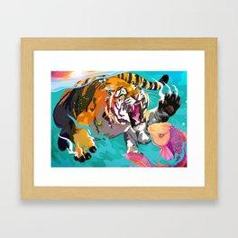 Hunting tiger Framed Art Print