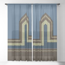 Line Houses - Color Sheer Curtain