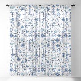 Nautical Watercolor Sheer Curtain