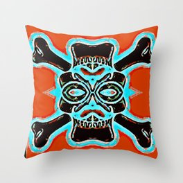 black vintage skull and bone graffiti drawing with blue and red background Throw Pillow