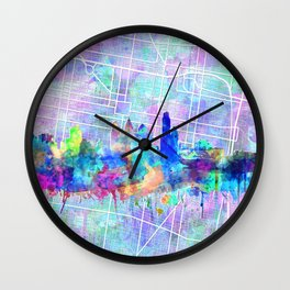 philadelphia city skyline watercolor Wall Clock