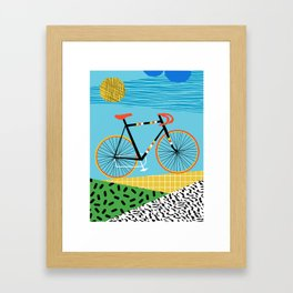 Roadie - peugeot px10, bicycle art print, cycling art, gifts for cyclists, memphis art print Framed Art Print