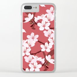 Sakura on red background Clear iPhone Case
