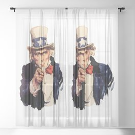 Uncle Sam Wants You! Sheer Curtain