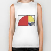 fibonacci Biker Tanks featuring Mondrian vs Fibonacci by Psocy Shop