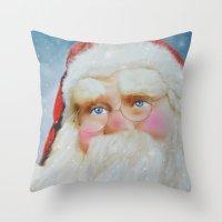 santa Throw Pillows featuring Santa by Mary Timman