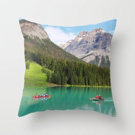 Boats on Emerald Lake Throw Pillow