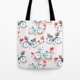 watercolor vintage bike, floral bicycle, summer bike ride Tote Bag
