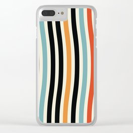 Raincore - Mid Century Modern Rainbow Retro Lines Abstract Pattern - Blue Yellow Green Red Black Clear iPhone Case