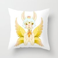 goddess Throw Pillows featuring Goddess by neulinu