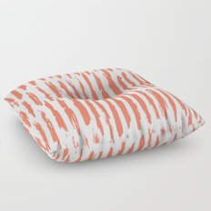 Vertical Dash Deep Coral on White Floor Pillow