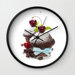 fresh chocolate muffins with cherry Wall Clock