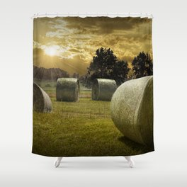 Farm Field with Hay Bales at Sunrise in West Michigan Shower Curtain