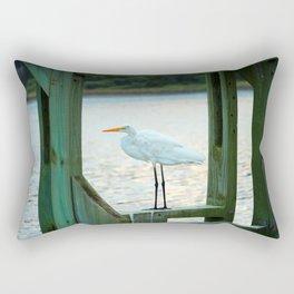 Egret Keeping Watch Rectangular Pillow