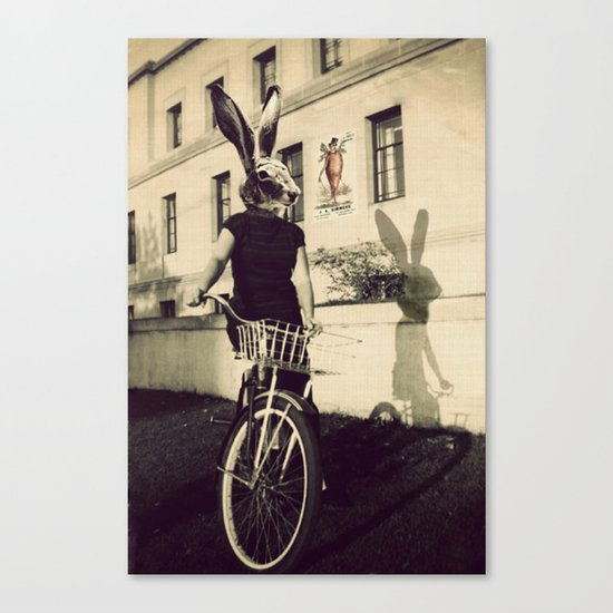 Bunny on Bicycle Canvas Print