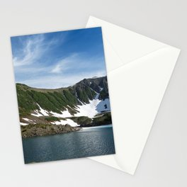 Stunning summer mountain landscape: Blue Lake, green forest on hillsides, blue sky on sunny day Stationery Cards