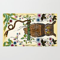 andreas preis Area & Throw Rugs featuring Vibrant Jungle Owl and Snake by famenxt