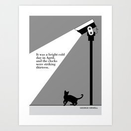 George Orwell, 1984, cat art literary quote Art Print