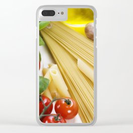 Italian Pasta with tomatoes, mushrooms, olive oil and basil Clear iPhone Case