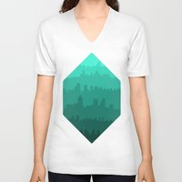 skyline V-neck T-shirts featuring Skyline by Zeke Tucker