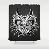 majoras mask Shower Curtains featuring Sugarskull / Majoras mask / black'n'white by tshirtsz