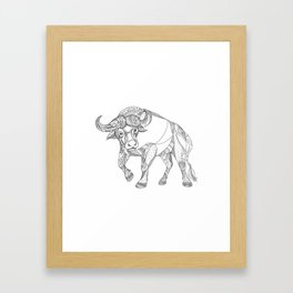 African Buffalo Charging Doodle Framed Art Print