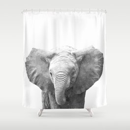 Black and White Baby Elephant Shower Curtain