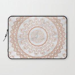 Mandala - rose gold and white marble Laptop Sleeve