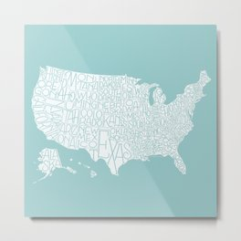 Hand Lettered States of America - duck egg blue Metal Print
