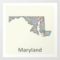 maryland Art Prints featuring Maryland map by David Zydd