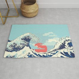 The Great Wave off Kanagawa stormy ocean with big waves Rug