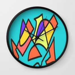 Blue blue multicolor Wall Clock