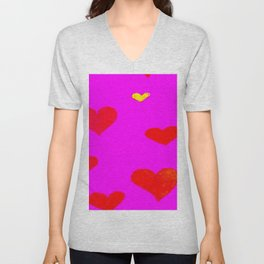 Red and Pink Falling Hearts Unisex V-Neck