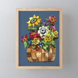 Happy Flowers Framed Mini Art Print