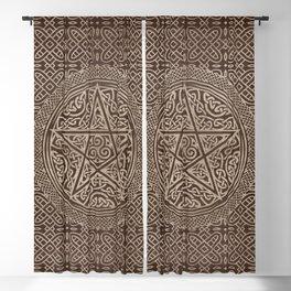 Pentagram Ornament Wooden Texture Blackout Curtain
