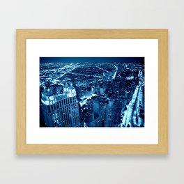 Chicago Nights Blue Framed Art Print