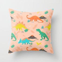 Jurassic Dinosaurs on Peach Throw Pillow